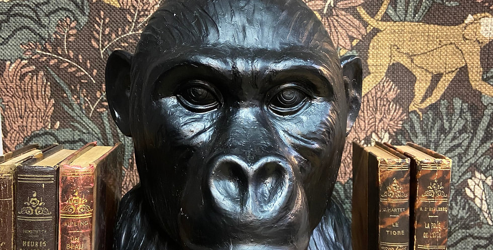Vase tête de singe noir