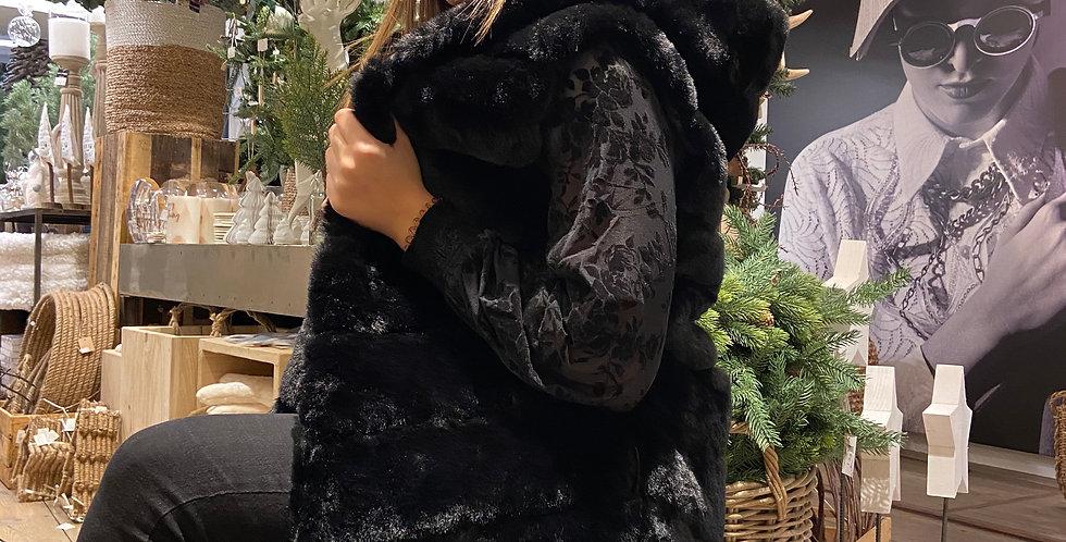 Manteau fausse fourrure sans manche Noir