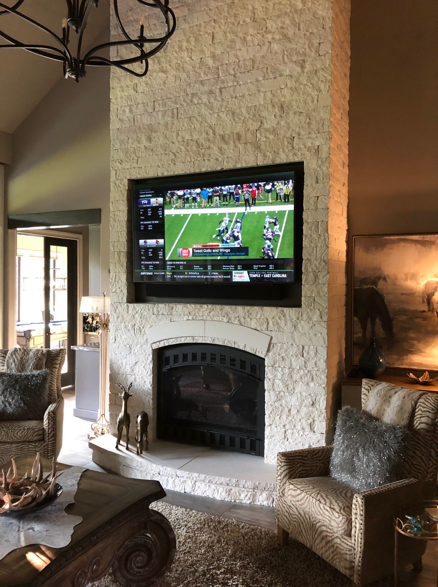 TV w/ adjustable fireplace mount