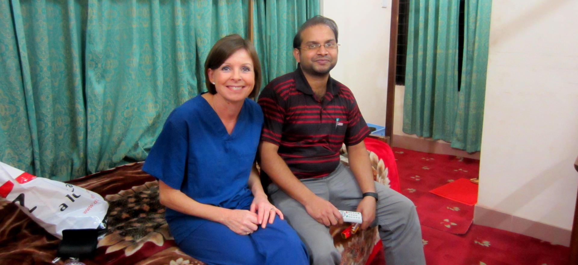 Rachel and Dr Shah Aminul Islam (founder's son)