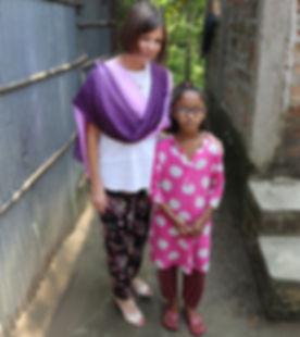 Rachel with Bangladeshi girl in glasses