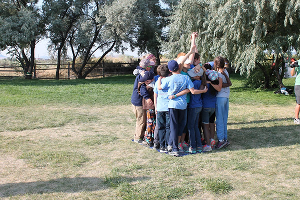 students participating in team-building challenge