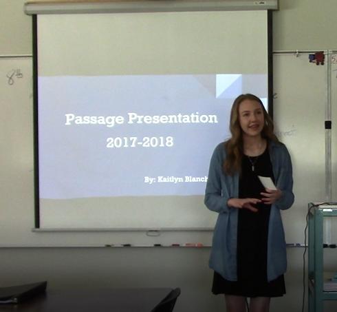 eight-grade student presenting her passage presentation
