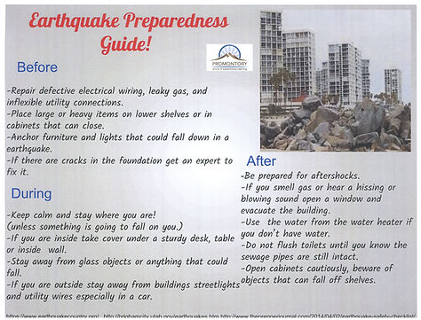 earthquake preparedness guide created by a student