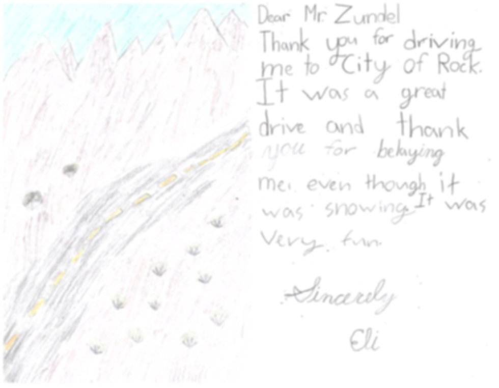 Thank you note from a student