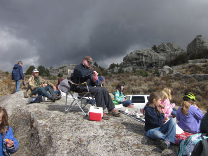 students completing fieldwork journals at City of Rocks, Idaho