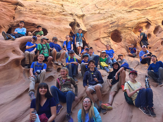 students on rock in southern Utah