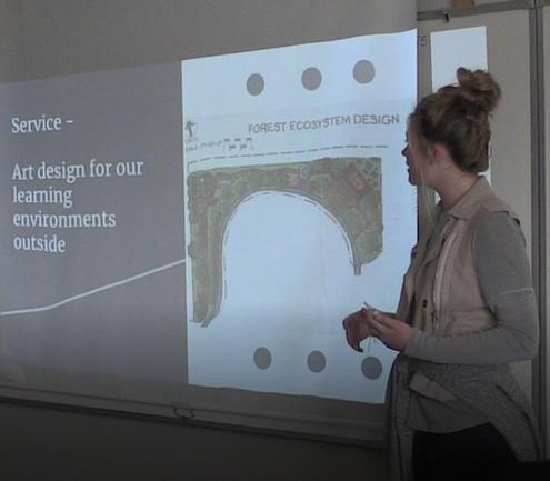 eighth-grade student presenting her passage presentation