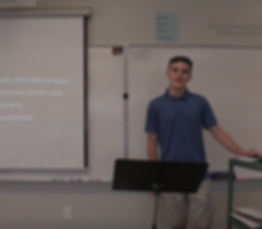 eighth-grade student presenting his passage