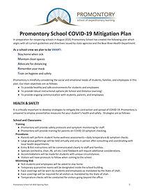 Promontory School COVID-19 Mitigation Pl