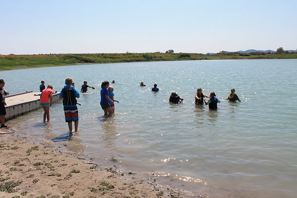 students swimming in a lake