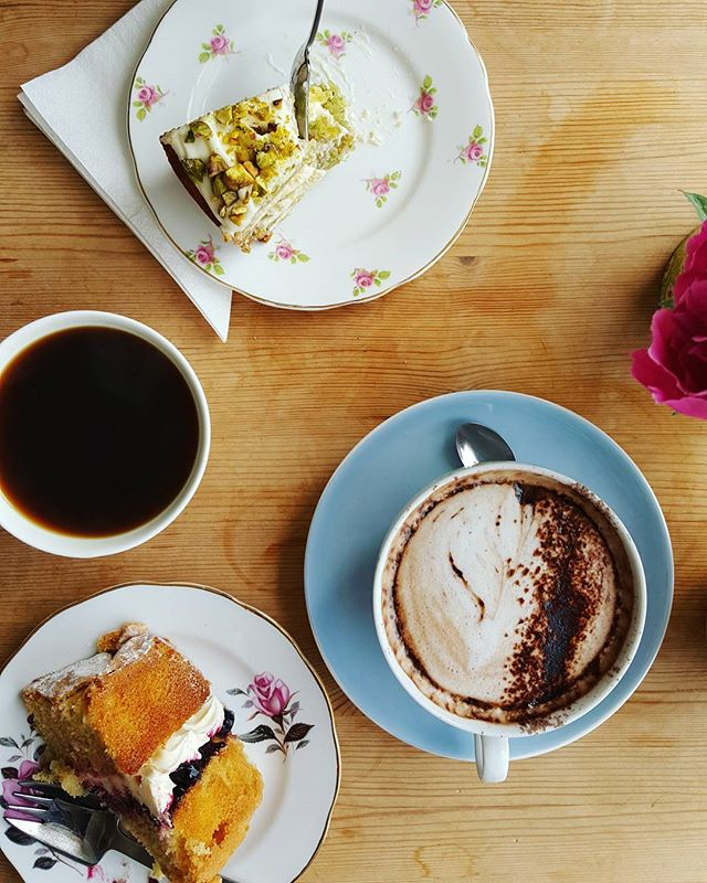 Really though, is there anything better than coffee and cake_ ~ _Lime and pistachio courgette cake •