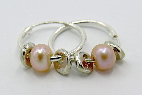 Heishi hoop earrings with pink pearl beads