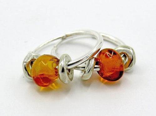 Heishi hoop earrings- Amber