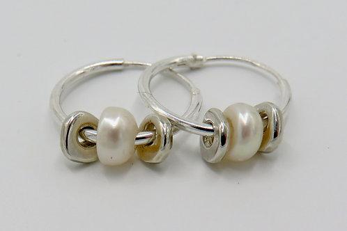 Heishi hoop earrings-white pearl