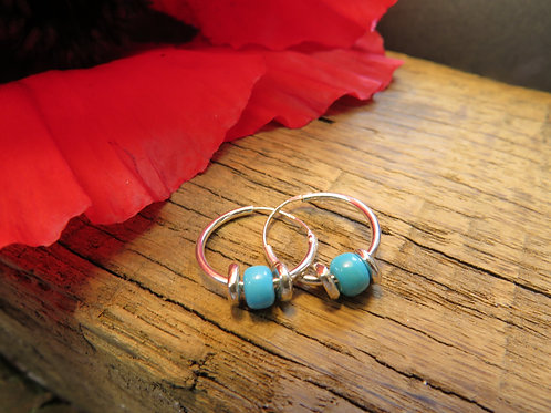 Heishi hoop earrings-turquoise