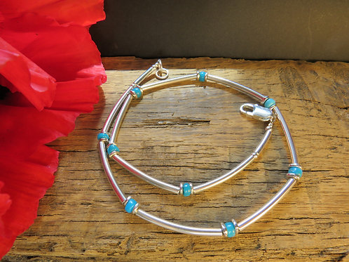 Silver & Turquoise Heishi Necklace