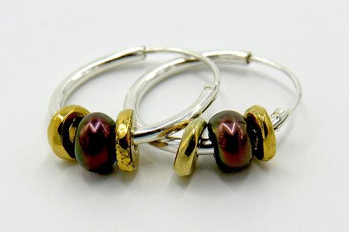 Heishi hoop earrings- Ravenswing pearls