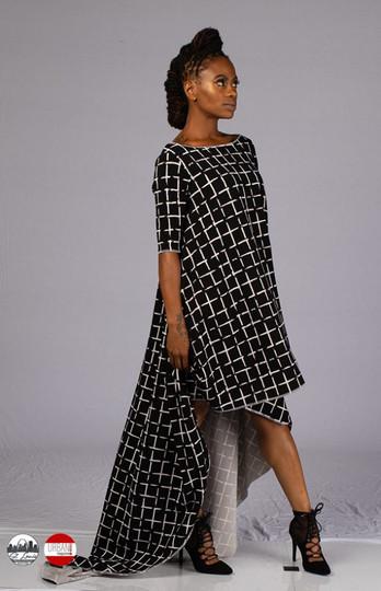 Black/White cape dress