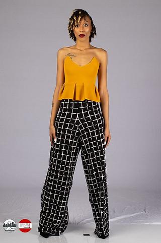 Mustard bustier & wide leg black/white pants