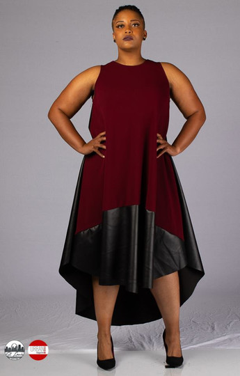 Bordeaux and leather cape dress