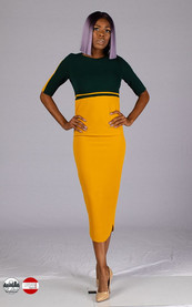 Mustard/Green color-blocked midi bodycon dress