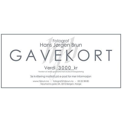 Gavekort 3000kr - TEST