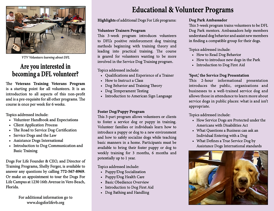 Education and Volunteer Brochure 8.13.20