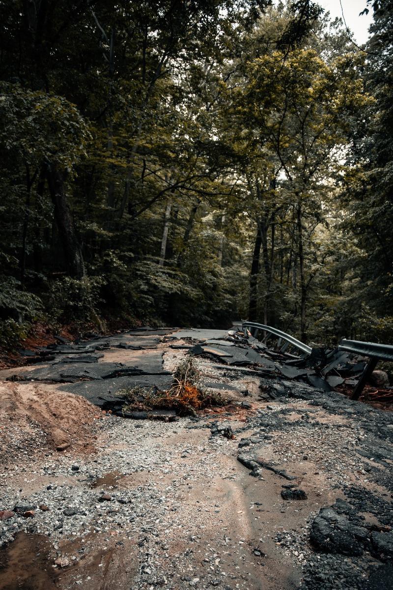 Washed out roads can prevent access to disaster areas.