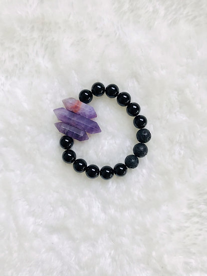 Onyx with Amethyst Points -Large Bead Gemstone Diffuser Bracelet