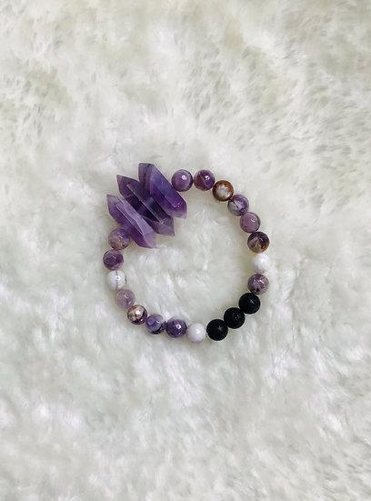 Amethyst with Amethyst Points - Medium Bead Gemstone Diffuser Bracelet