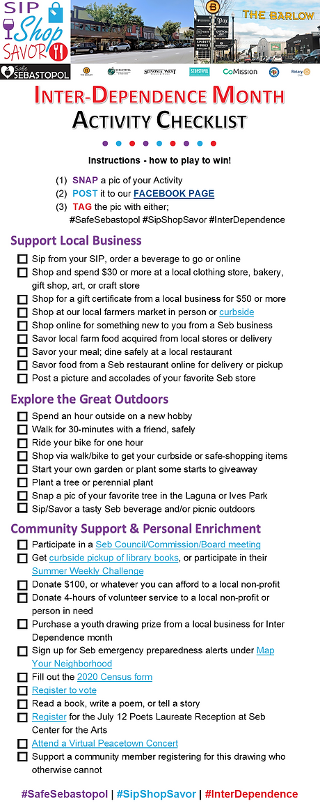 Sip Shop Savor Checklist of Activities F