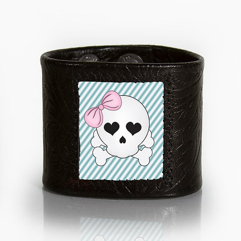 Cute Skull with Pink Bow & Pinstripes Cuff