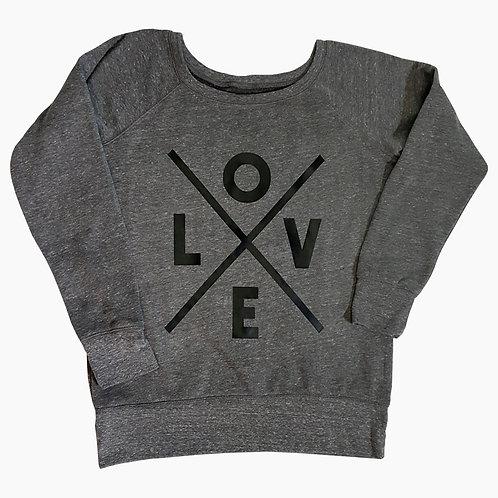 LOVE Crossed off the shoulder fleece