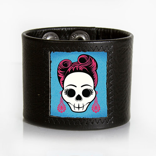 Hipster Skull with Pink Hair Cuff