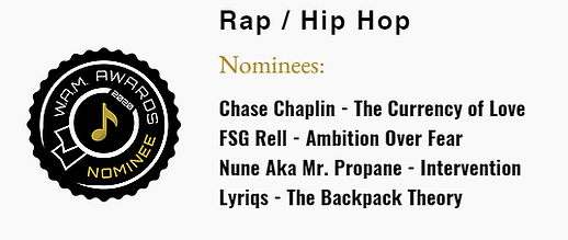 2020 Indie Rap W.A.M. Awards Nominee for best album Intervention