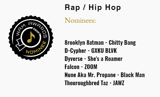 WAM Awards 2020 Album Nominations - Nune Aka Mr. Propane