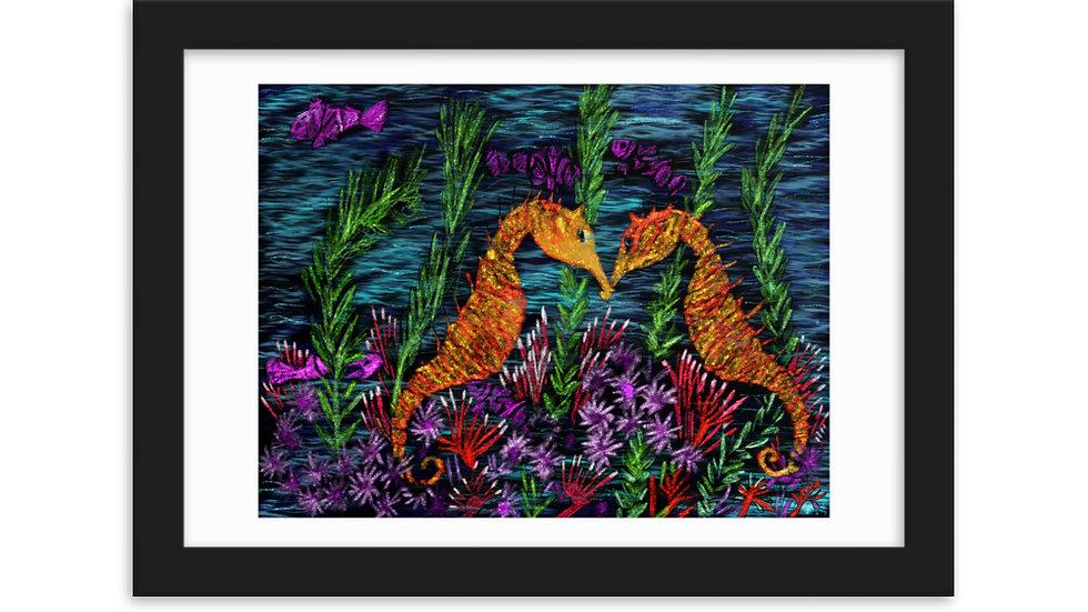 Sea horses paper poster