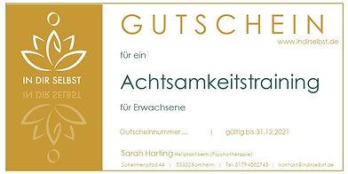 GUTSCHEIN ACHTSAMKEITSTRAINING ERWACHSEN