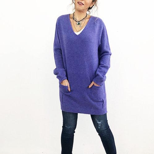 Maxi maglione lilla con tasche frontali