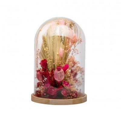 Cloche fleurs séchées rose