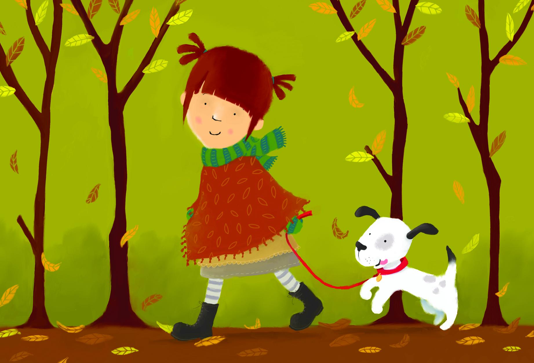 claire keay_cute girl autumn walk puppy