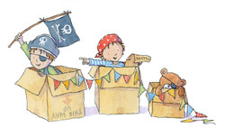 boys playing pirates in boxes_claire keay