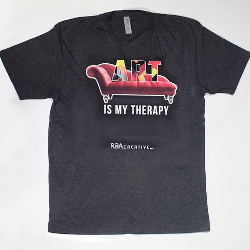Unisex: Art Is My Therapy Tee in Charcoal