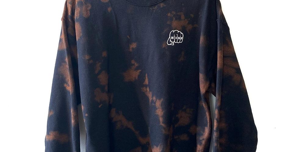 Black Tie-Dye Crewneck Sweater