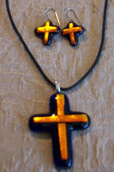 Red Rocks Cross Pendant and Earring Set