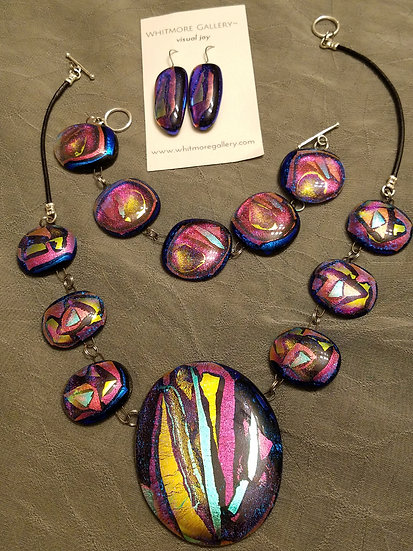 Crazy Quilt Fused Glass Necklace, Earrings and Bracelet!