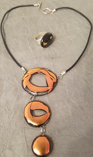 Bronze triple drop center necklace and ring