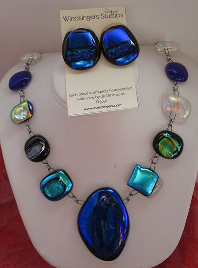 Cobalt Multiple Necklace and Earring Set