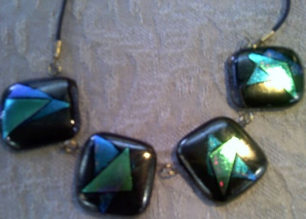 Green Star on Bronze Chunky 4 Piece Necklace